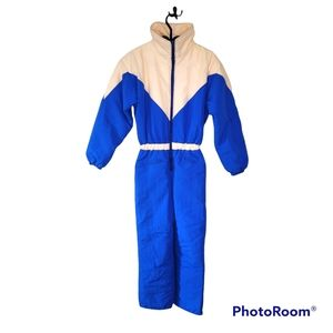 Vintage one piece blue and pink ski suit